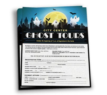Flier design for the City of Hagerstown's annual City Center Ghost Tours, as part of the team at Icon Graphics.